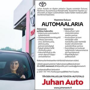 📢 TÖITÄ OIS TARJOLLA! 📢  Haemme siis Ouluun automaalaria. Oletko sinä tai ystäväsi etsimämme henkilö? 😊  #juhanauto #oulu #kuusa...