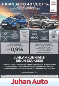 Ehtoota! Ja huhhuh... ... Sillä meillä jatkuu todella rajut 40-vuotissyntymäpäiväkampanjat uusiin Toyota autoihin #juhanauto #toyota