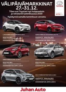 Huomenta, Näin joulun jälkeen on hyvä lähteä vähän reippailemaan ja vaikkapa pistäytyä Juhan Autossa autokaupoilla :). Välipäivämarkkinoilla tarjoamme useiden tuhansien eurojen etuja uusiin Toyota-henkilöautoihin. Tervetuloa kaupoille.